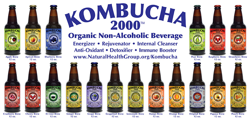 Kombucha 2000 Organic Elixer                   Tonic Now Featuring New Organic Fruit Flavors Made                   with Pure Organic Fruit Juices